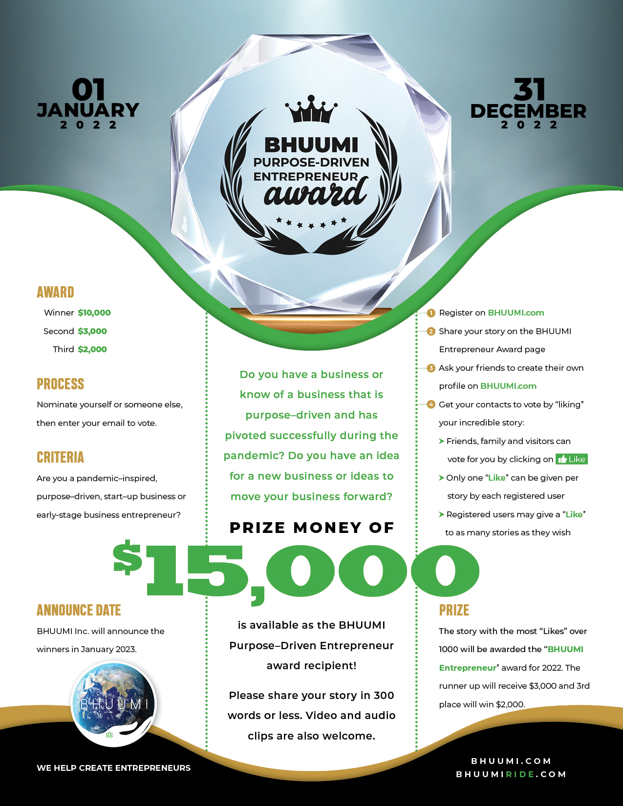 BHUUMI Purpose-Driven  Entrepreneur Award